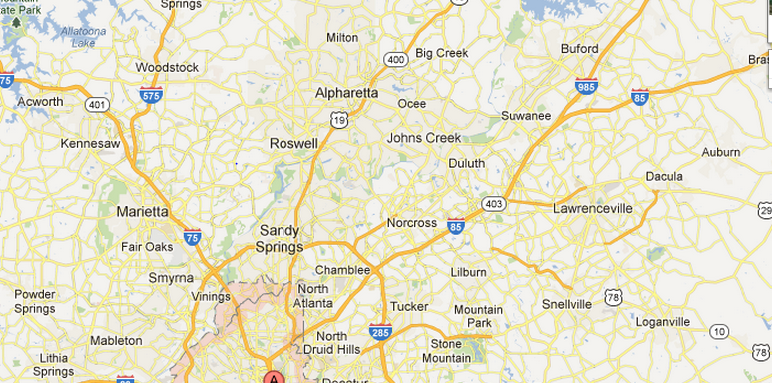 North Metro Atlanta Dead Animal Removal Map